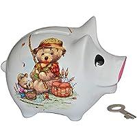 Preisvergleich für Sparschwein Teddy mit Angel - Porzellan mit Schlüssel - stabile Sparbüchse Spardose Kinder Figur groß