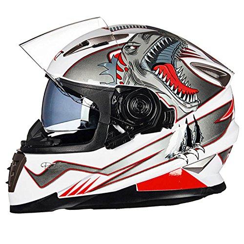 Motorradhelm FüR MäNner Fullface Bmx Helme Doppellinsen-Volldecker-Rennlok, Anti-Fog-Helm, Vier Jahreszeiten,Whitedinosaur-XL