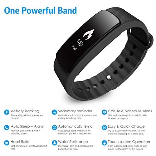 AMIR Fitness Tracker–Rastreador de fitness Brazalete de fitness Bluetooth deportes Smart Watch Actividad podómetro Actividad Pulsera Brazalete de fitness Agua Densidad Smart Paracord para iPhone IOS y Android Smartphones