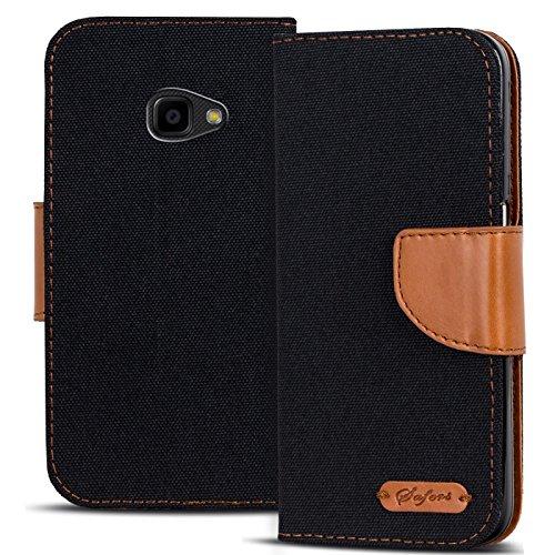 Conie Textil Hülle kompatibel mit Samsung Galaxy Xcover 4, Booklet Cover Schwarze Handytasche Klapphülle Etui mit Kartenfächer