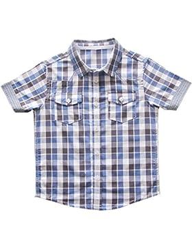 Bebone Camisa de Cudros Algodón para Niños Manga Corta