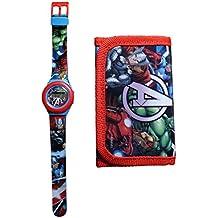 7d9566735 Reloj niño Avengers Iron Man Hulk Capitán América Marvel Comics Plus cartera