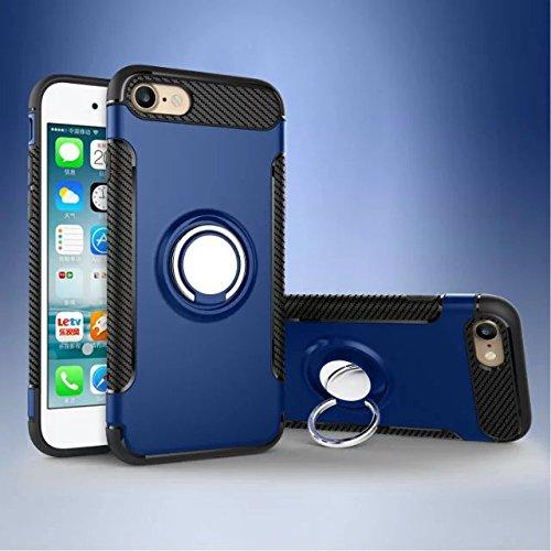 SHENYUAN-Mode-Fall Für iPhone 6 / 6S-Gehäuse, 2-in-1-Hochleistungsgehäuse mit doppelter Schutzschicht, stoßfest, mit 360-Grad-Drehringhalterung und iPhone 6 / 6S-Magnet-Autoabdeckung (Color : Blau)