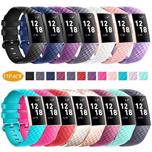 Jiamus Bands kompatibel für Fitbit Charge 3, Classic und Special Edition Ersatz Fitness Sport Armband kompatibel für Charge 3 und Charge 3 SE, groß und klein
