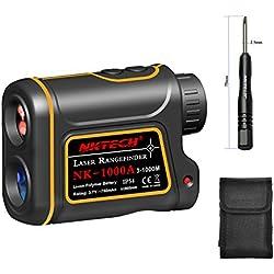 Nktech - Telémetro láser para caza y golf al aire libre, 600 m, 1000 m, 1200 m, 1500 m, modelo 4-en-1, telescopio 8X, medida de velocidad, ángulo, altura y distancia con batería recargable