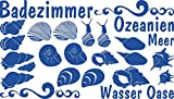 GRAZDesign 770075_57_052 Wandtattoo Badezimmer mit Muscheln | Wand-Aufkleber Wand-Sprüche | für Badezimmer -WC oder Wellness Bereich | Als Fliesenaufkleber oder Badtattoos (100x57cm//052 azurblau)