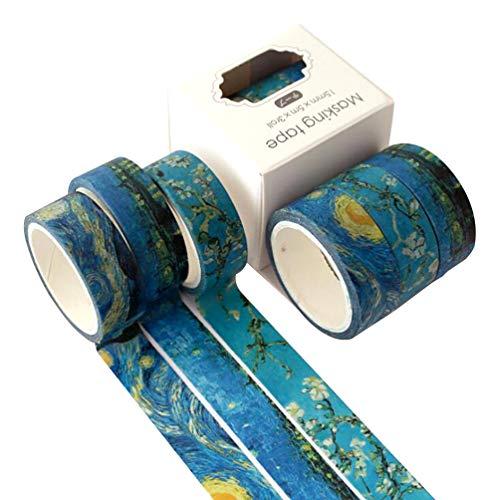 TAPEPRO Washi Tape Set 3 Rollen Collection 15mm Masking Tape Van Gogh Sternenhimmel Iris Blau Dekorative Abdeckband Klebeband Klebebänder DIY Craft Scrapbooking Geschenkpapier Kunst Handwerk Büro Party Supplies (Starry sky)