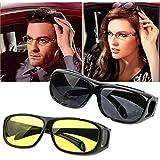 Bigbro Amazing Day & Night Hd Vision Goggles Anti-Glare Polarized Sunglasses Men/Women Driving Glasses Sun Glasses Uv Protection Car Drivers(1 Pair)2 pcs