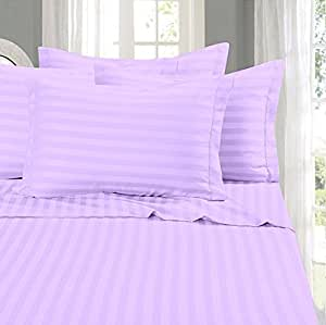 BhaiJi's Elastic Fitted BedSheets King Size 300 TC Pure Cotton Satin Stripes - Purple