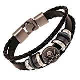 Cool Leather Bracelet Pirate Style Bangle Vintage Cuff Wristband Rock Punk Biker Bracelet Braided Ropes
