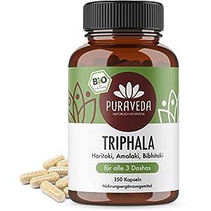 Bio Triphala Kapseln (150 Stück) – Ayurveda Dreifrucht – Haritaki, Amalaki und Bibhitaki – KEIN Magnesiumstearat – 100% BIO – Qualität von PURAVEDA
