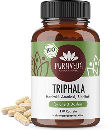 Bio Triphala Kapseln (150 Stück) - Ayurveda Dreifrucht - Haritaki, Amalaki und Bibhitaki - KEIN Magnesiumstearat - 100% BIO - Qualität von PURAVEDA