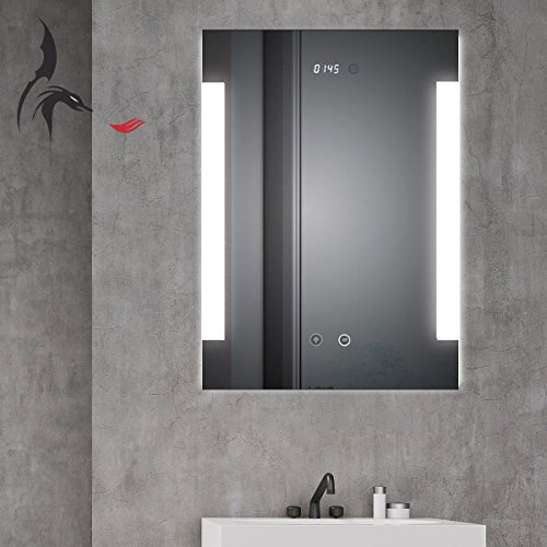 HOKO® LED Bad Spiegel beleuchtet mit Digital Uhr  ANTIBESCHLAG SPIEGELHEIZUNG Fulda Bild 2*