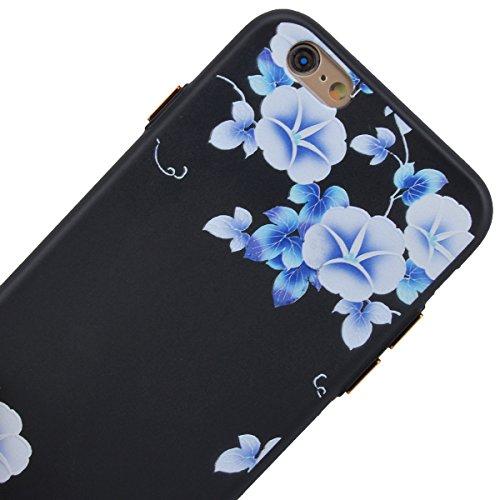 Yokata Cover per iPhone 6S / 6 Pittura Custodia Gel Silicone Molle di Flessibile TPU Morbido Case Painting Protezione Backcover Caso Gomma Bumper Protettiva Shell per iPhone 6S / 6 + Penna - Girasole Ipomea