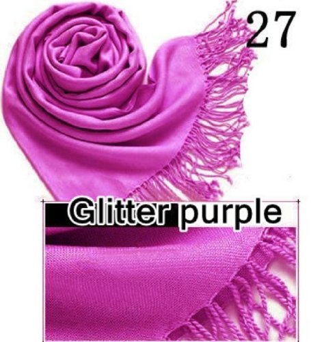 ät HOT SALE Damen Pashmina Schal Hijab Schal Riesige Auswahl Wrap 40Farben, baumwolle, Glitter Purple 27, Approx 72'' x 28'' ()