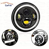 CarFrill 7 inch Round LED Headlight 50 Wtwith Angel Eye Projector Dual DRL Color, H4 Type with 4 LED Lights for Royal Enfield Standard 500