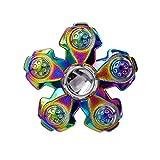 CRAZYCHIC Hand Spinner - Toupie NINJA Shuriken à 3 branches en métal - Roulement haute qualité - Rotation longue durée (Arc En Ciel)