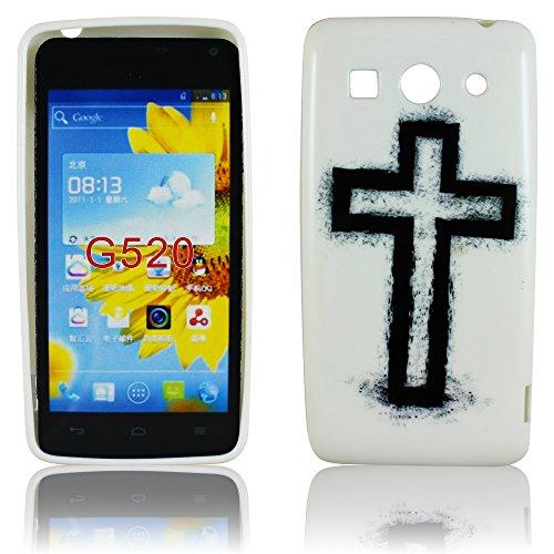 thematys Huawei Ascend G520 G525 Dual Silikon KREUZ Design Schutz Handy Hülle Case Tasche Etui Bumper Jesus