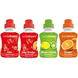 SodaStream 4er Sirup-Packung Cola, Orange, Zitrone-Limette, Cola-Mix (4 x 500ml)