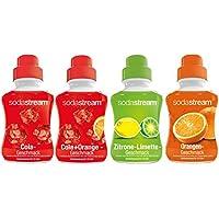 SodaStream 4er Sirup-Packung Cola, Orange, Zitrone-Limette, Cola-Mix (4 x 500ml)