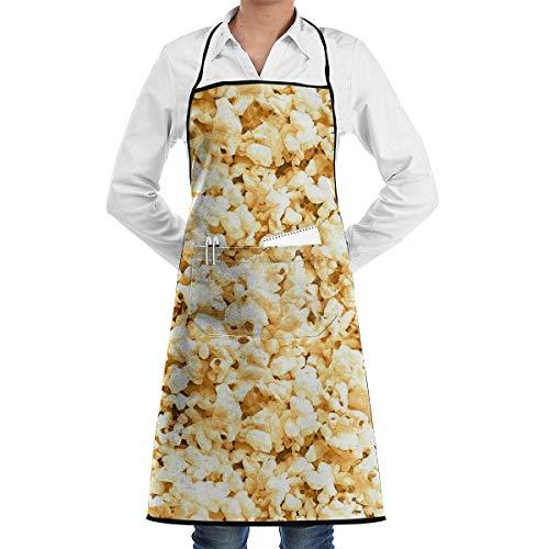 DFHFD SHOP Küchenschürzen Kochschürze Chef Schürzen Popcorn Adjustable Bib Apron Waterdrop Resistant with Pockets Cooking Kitchen Aprons for Women Men Chef