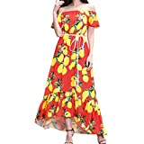 Ears Damen Sommerkleid Elegant Vintage Frauen Abendkleid von Bohemia Lady Strand Sommer Formale Chiffon Abendkleid Abend Abendgesellschaft Lange Maxi Kleid Chiffonkleider Sommerkleider (XXL, Rot)