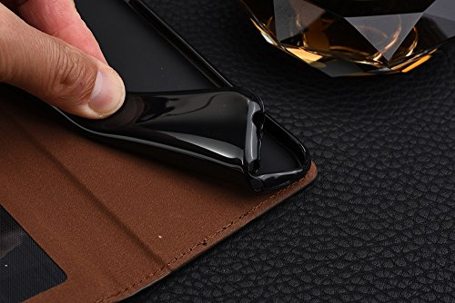 iPhone Case Cover Affaires affaire de cuir magnetique cas de fermeture affaire de cheval moulage portefeuille stand cas avec des fentes de carte de caisse pour IPhone 6 6 ( Color : Brown , Size : IPho Black