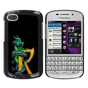 BLOKK CASE / BlackBerry Q10 / Dragon R lettre or noir livre de fantasy / Mince Noir plastique couverture Shell Armure Coque Coq Cas Etui Housse Case Cover