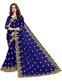 SareeShop Embroidered Multi-Coloured Half And Half Georgette Saree With Blouse Material For Party Wear,Wedding... - B074L14S38