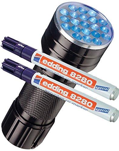 doppelpack-edding-spezialmarker-edding-8280-securitas-uv-marker-15-3-mm-farblos-eine-uv-led-lampe