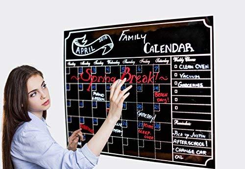 Monatliche Dry Erase Kühlschrank Kalender mit Vintage Kreidetafel Design | inkl. 3easy-erase Kreide markers| 16x 12magnetisch Tafel Organizer mit Aufgabenliste Liste