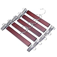 J.S Hanger - Wooden Trouser Hangers with Adjustable Rust-Proof Clips and a Walnut Finish (5 hangers)