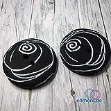 Efimoni rund schwarz Fimoknöpfe zwei Löcher Fimo Knöpfe Kleidung Deko DIY Basteln Nähen 2Stk 30mm