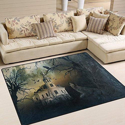 Use7 Halloween Castle Wolf Fledermaus Wald Landschaft Natur Teppich Teppich Teppich für Wohnzimmer Schlafzimmer, Textil, Mehrfarbig, 160cm x 122cm(5.3 x 4 feet)
