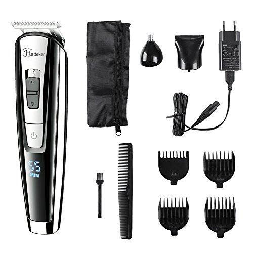 Hatteker Recortador de barba Cortapelos Cortadora de pelo Maquina para Hombres Set de afeitado multifunción corporal y facial con recortadora 3 en 1