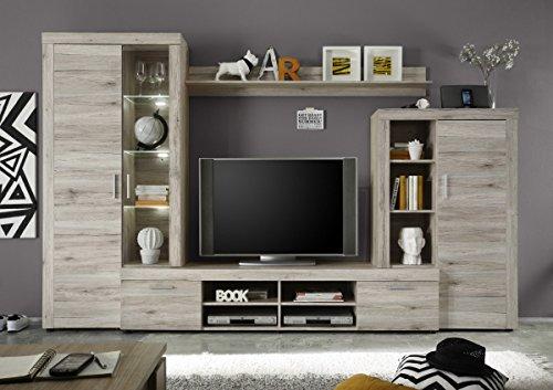 Dreams4Home Wohnkombination 'Lumah', Schrank Vitrine TV-Schrank Wohnwand Wohnelement Wohnzimmer Regalwand Sandeiche inkl. Beleuchtung, Ausführung:ohne Glas-TV-Bühne