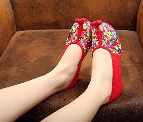 WXT Chinesische Oper bestickte Schuhe, Sehnensohle, ethnischer Stil, Femaleshoes, Mode, bequem Red