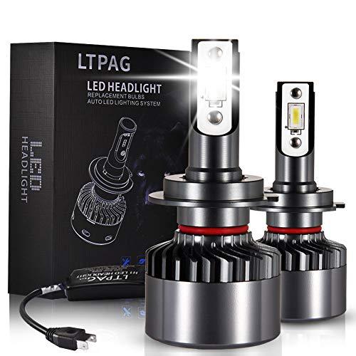 LTPAG Lampadine H7 LED, Nuovo 72W 12000LM Fari Abbaglianti o Anabbaglianti per Auto - Kit Sostituzione per Luci Alogene o Lampade Xenon Luci Luminosa 12V-24V 6000K Bianco - 2 Anni Di Garanz