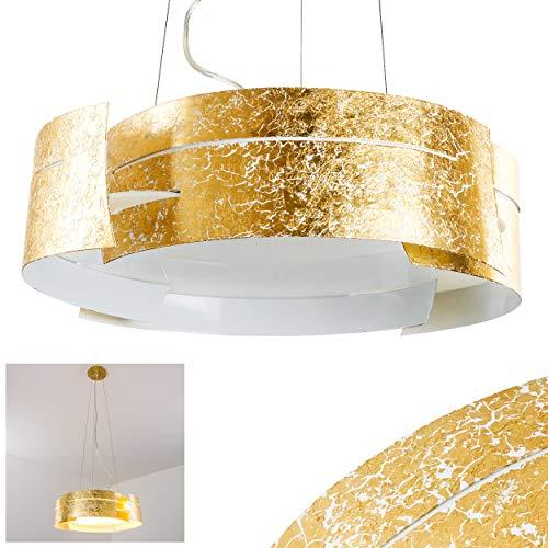 Gold-runde Glas-esstisch (Pendelleuchte Novara, Hängelampe rund in Gold aus Metall, 3-flammig, 3 x E27 je 60 Watt, moderne Hängeleuchte geeignet für LED Leuchtmittel)