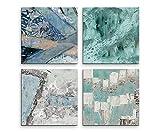4 Bilder Set Abstrakt Mint Eisblau Kunst Expressiv Graffiti