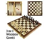 Generic. RD Spiel Set 3in1Holz Board den Board Kompendium mpendi Spielen Reisen Schach um TRA Spiel Set ackgamm Backgammon Zugluft.