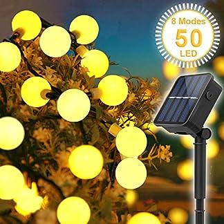 Cadena Solar de Luces, Guirnalda Luces Exterior Solar, SYOSIN Luces Decorativas 66 LED, IP65 Impermeable Con 8 modos, para Fiestas, Jardines Festivales, etc【Clase de eficiencia energética A+++】
