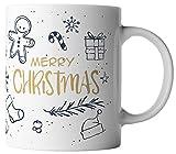 vanVerden Tasse Merry Christmas / Frohe Weihnachten / Frohes Fest inkl. Geschenkkarte, Farbe:Weiß/Bunt