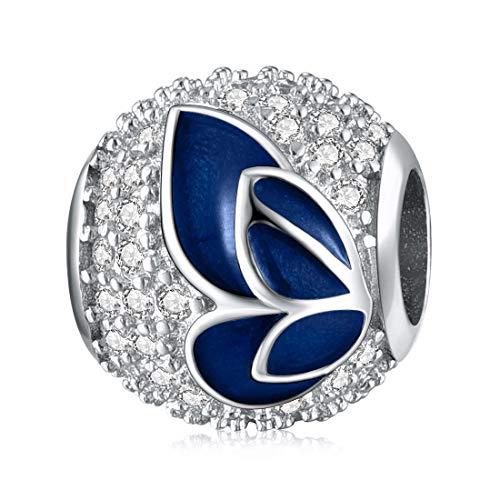 Schmetterling Bead Charms 925 Sterling Silber Blauer Flügel Anhänger für Europäische Armbänder