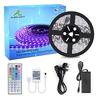ALED LIGHT 10M 5050 RGB Colour Changing Led Strips Lights Rope Lights with 44Key IR Remote Controller 24V 6A UK Power Adapter Power Supply(300 LEDs)