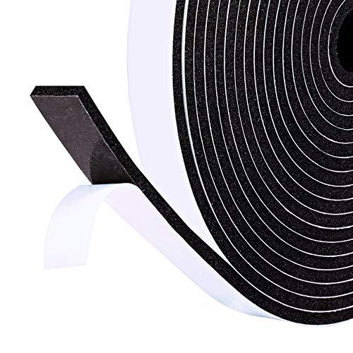 für Türen Fenster 12mm(B) x3mm(D) x5m(L) selbstklebend schwarzes Schaumstoff Klebeband Türdichtungen Gummidichtung kochfeld Anti-Kollision Fensterspaltent und Lärm ()