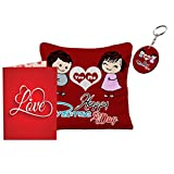 Sky Trends Valentine Day Girls Gifts and Boys Gifts Love Quotations Printed 12x12in Cushion Cover With keychain Greeting message Card For Rose Day Hug day Promise Day Propose Day Set026