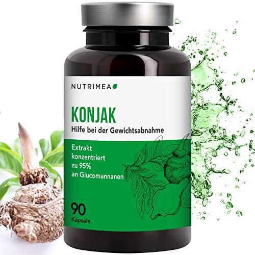 Abnehmen mit Konjak Glucomannan Kapseln Hochdosiert - Pflanz. Ballaststoffe aus Konjakwurzel - Vegan...