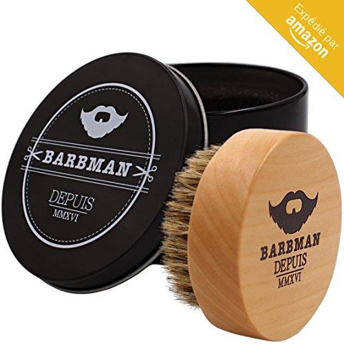 BARBMAN : Brosse à barbe en bois et poils de sangliers naturel, permet une application optimale de votre huile ou baume à barbe tout en coiffant et démêlant. Cadeau idéal pour homme barbu
