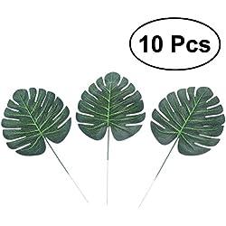 WINOMO Künstliche Palmenblatt für die Dekoration Künstliche Blatt grün (10pcs)